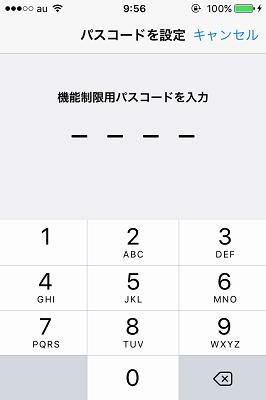 機能制限用パスコード